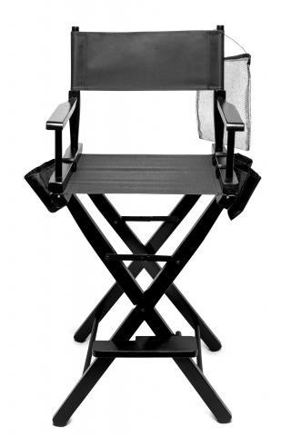 Sminkesrendezői szék, keményfából, kültéri használatra is, Oxford 600D anyaghasználat, összecsukható, fekete színben
